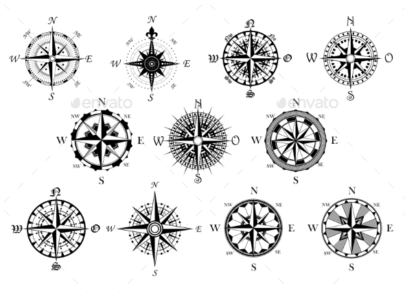 GraphicRiver Antique Compasses Symbols Set 9258368