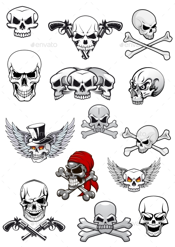 GraphicRiver Vector Skull Characters with Crossbones 9258372