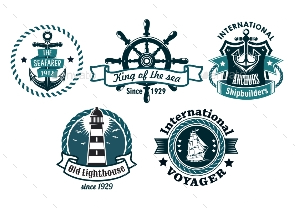 GraphicRiver Nautical Themed Emblems or Badges 9258373