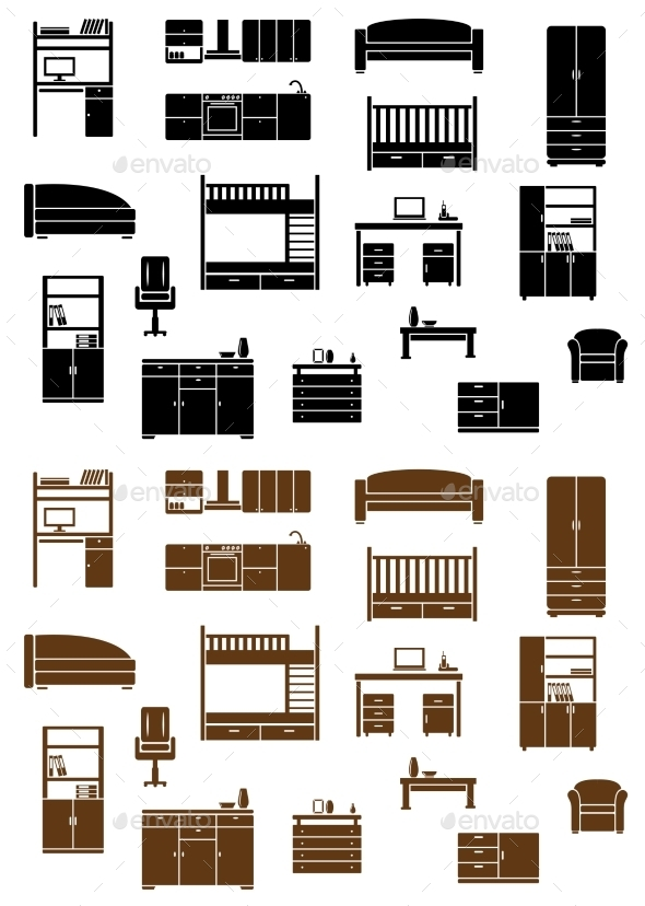 GraphicRiver Set of Flat Furniture Icons 9258379