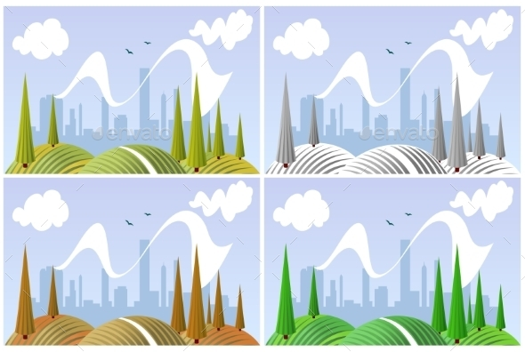 GraphicRiver Landscape in Four Seasons 9258380