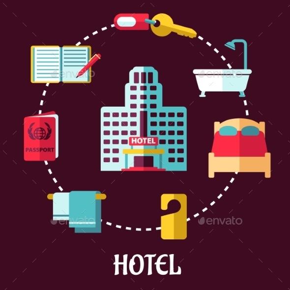 GraphicRiver Hotel Service Flat Design 9258398