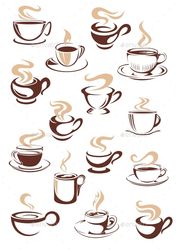 GraphicRiver Set of Cups of Coffee 9258453
