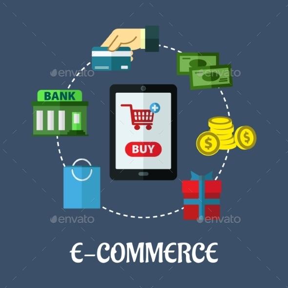 GraphicRiver E-Commerce Flat Concept Showing Payment Options 9258455