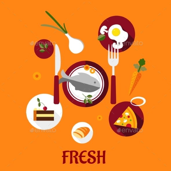 GraphicRiver Fresh Food Flat Design 9258466