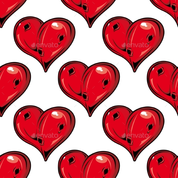 GraphicRiver Red Valentines Hearts Seamless Pattern 9258471