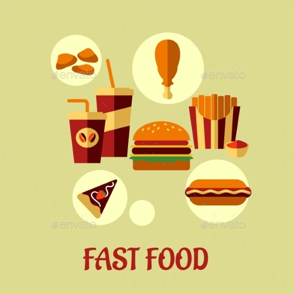 GraphicRiver Fast Food Flat Poster Design 9258472