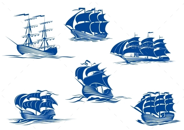 GraphicRiver Blue Ships or Sailing Ships 9258473
