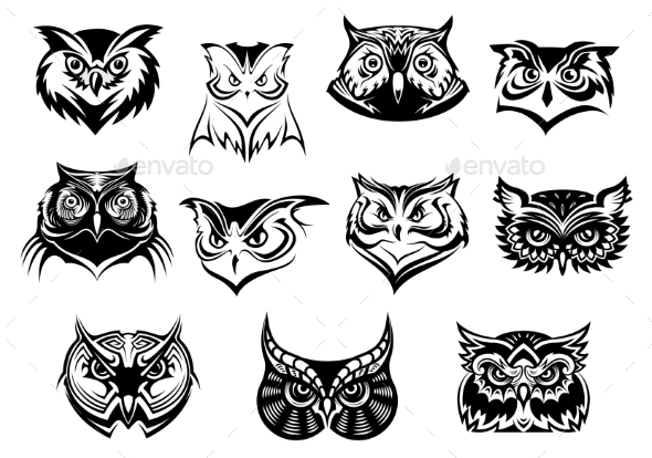GraphicRiver Set of Owl Heads 9258476