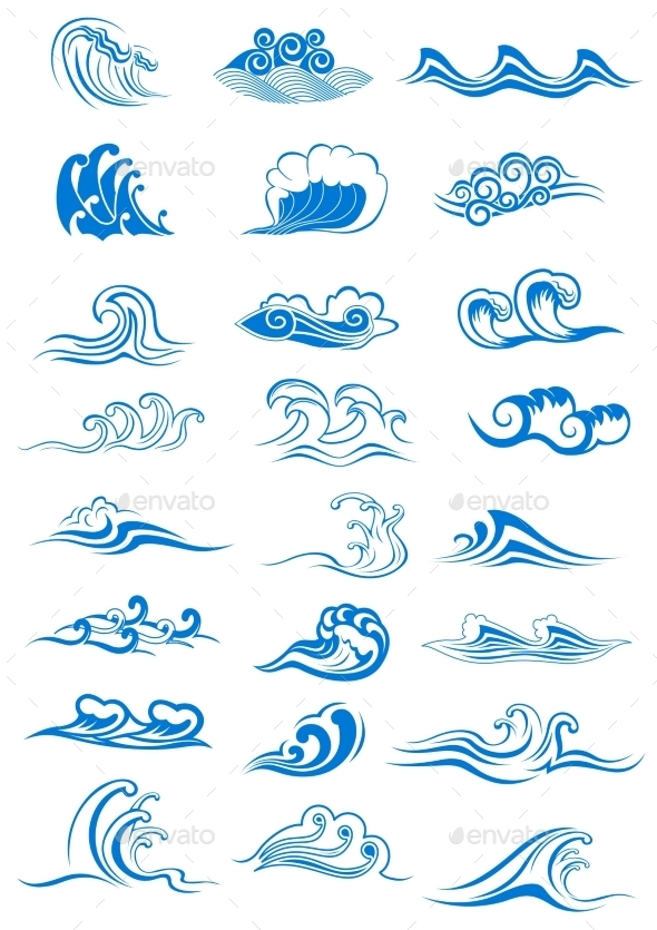 Blue Ocean Waves Set