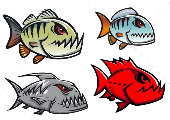 GraphicRiver Cartoon Piranha Fish 9258485