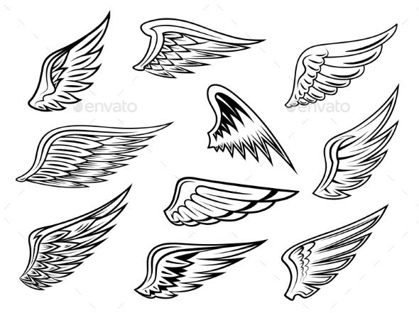 GraphicRiver Heraldic Wings Set 9258498
