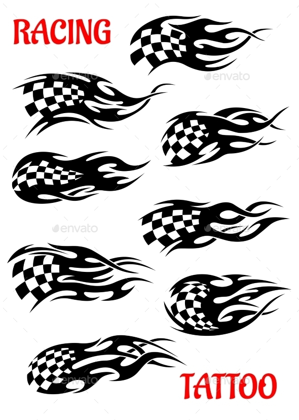 Set of Motor Racing Vector Tattoos