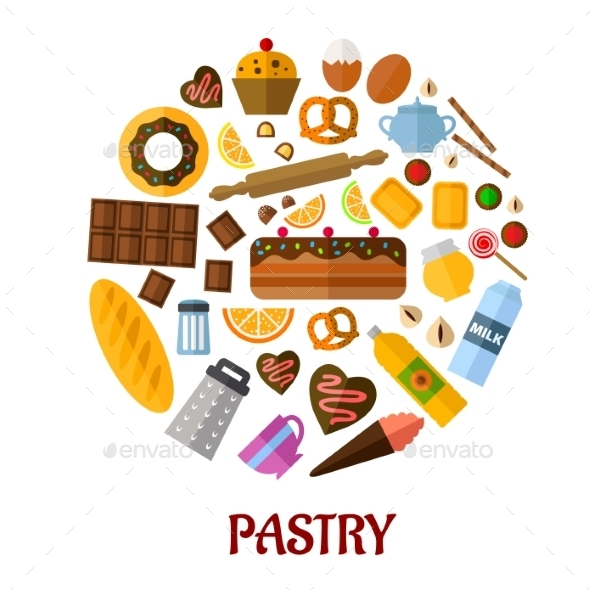 GraphicRiver Pastry Flat Vector Icons 9258501