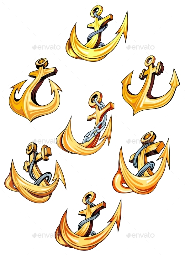 GraphicRiver Swirling Gold Ships Anchors 9258503