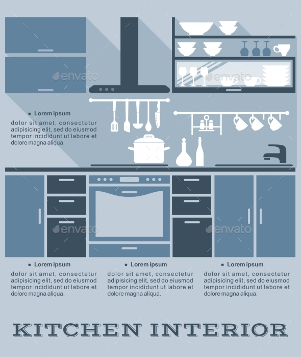 GraphicRiver Kitchen Interior Flat Design 9258505