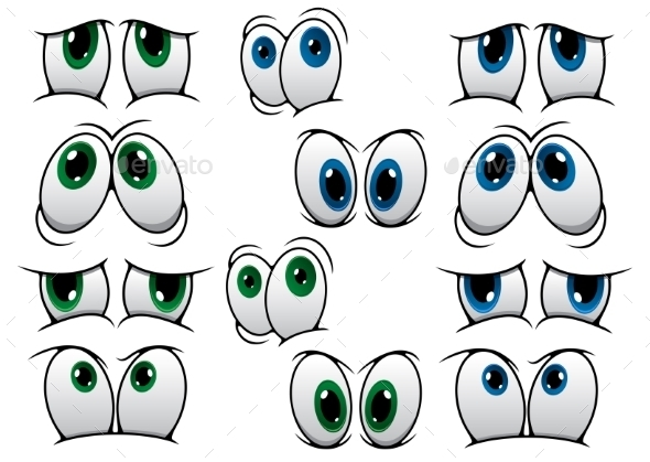 GraphicRiver Blue and Green Cartoon Eyes 9258542