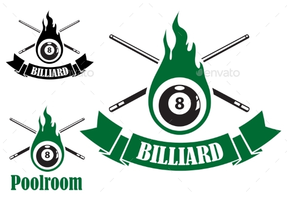 Billiard Icons with Crossed Cues