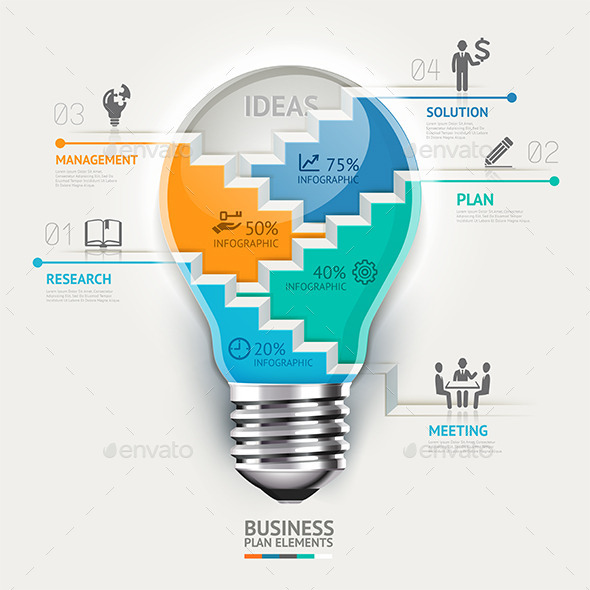 GraphicRiver Business Lightbulb Infographics Template 9258545