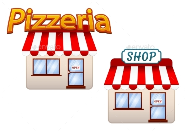 GraphicRiver Cartoon Shop and Pizzeria Icons 9258571
