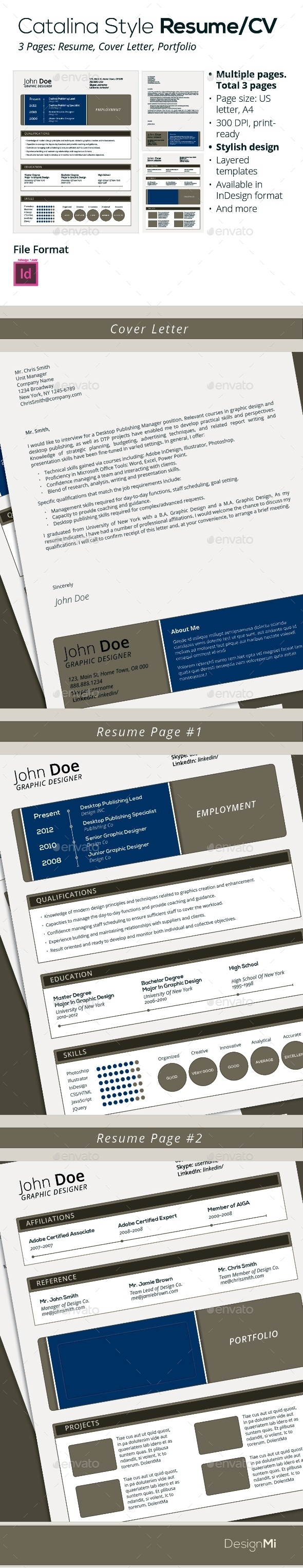 GraphicRiver Catalina Style Resume CV 3 Pages 9258595