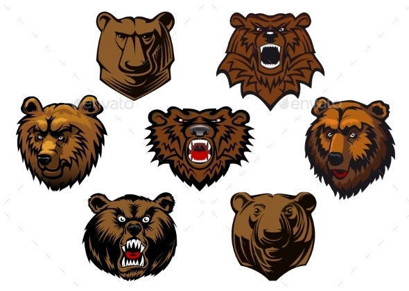 GraphicRiver Bear Head Set 9258602