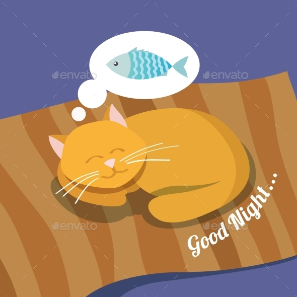 GraphicRiver Sleeping Cat Background 9258636