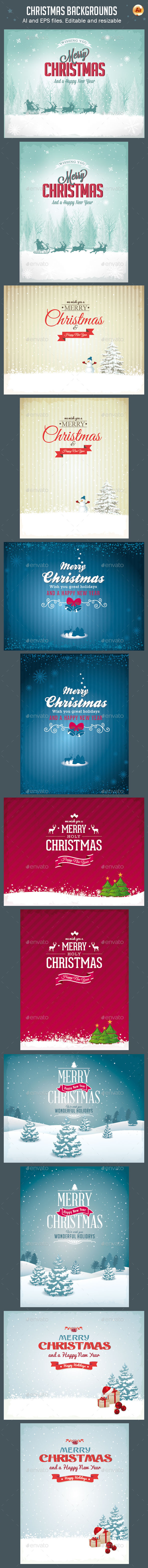GraphicRiver Vector Christmas Backgrounds Vol.2 9258759