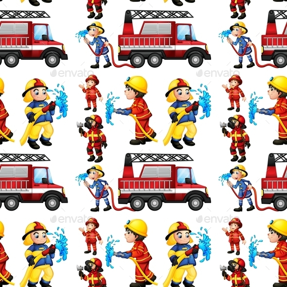 GraphicRiver Seamless Firefighters 9258762