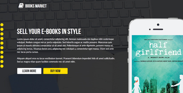 ThemeForest Books Market Creative Landing Page Template 9258809