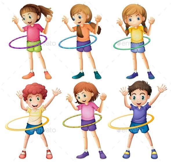 GraphicRiver Kids playing Hulahoop 9258840