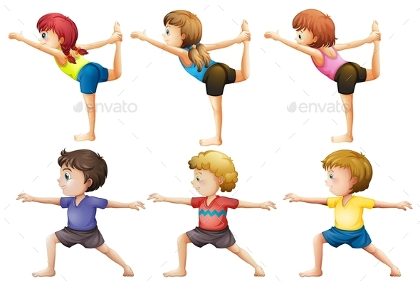 GraphicRiver Girls and Boys doing Yoga 9258841