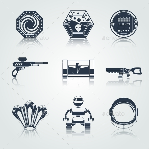 GraphicRiver Space Game Icons Black 9258927