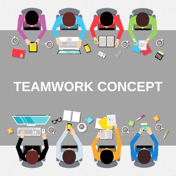 GraphicRiver Teamwork People Top View 9258940