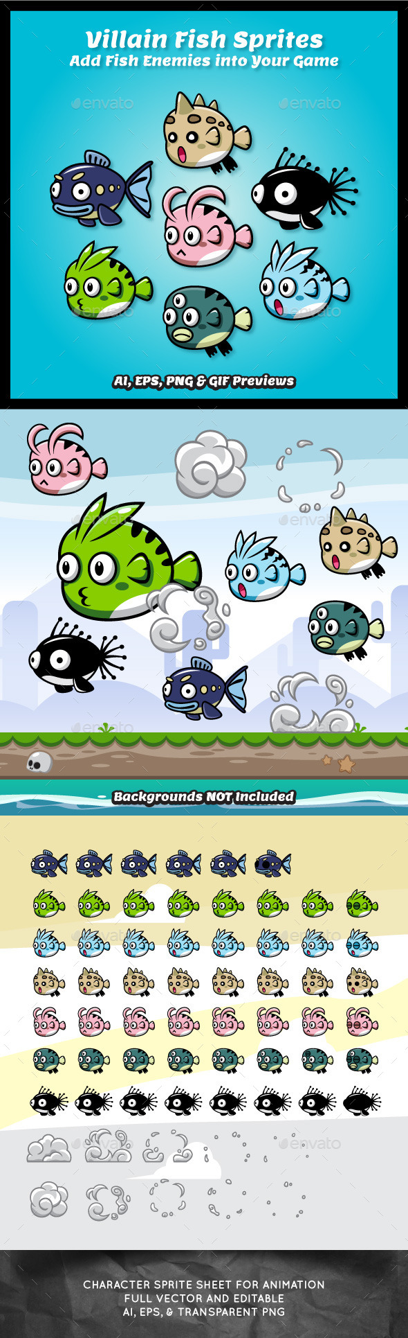 GraphicRiver 7 Villains Fish Sprite Sheets 9258963