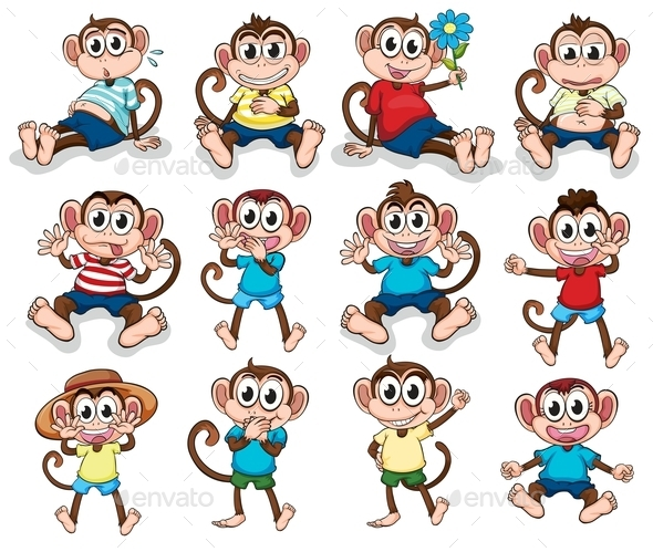 GraphicRiver Monkeys with Different Emotions 9258988