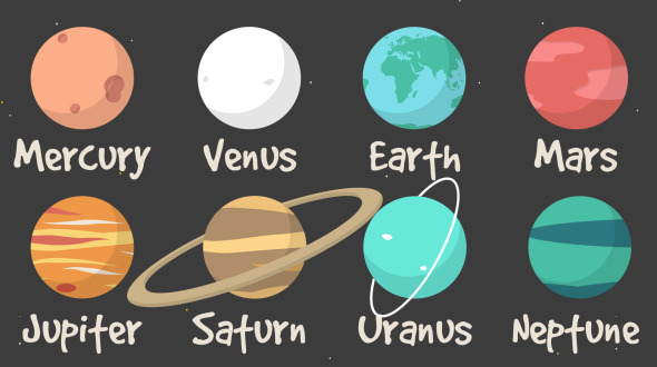 2d Cartoon Rotating Planets Of The Solar System By Jolly