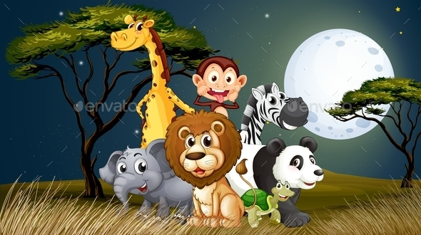 GraphicRiver Animals in Moonlight Landscape 9259145