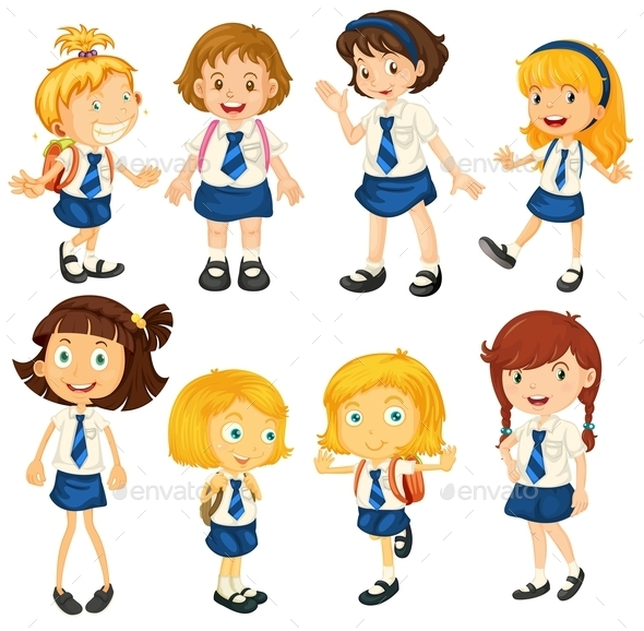 GraphicRiver Eight Schoolgirls in their Uniforms 9259149