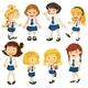 Eight Schoolgirls in their Uniforms - GraphicRiver Item for Sale