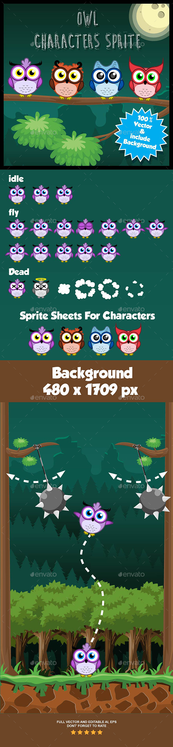 GraphicRiver Owl Character Spritesheets 9196887