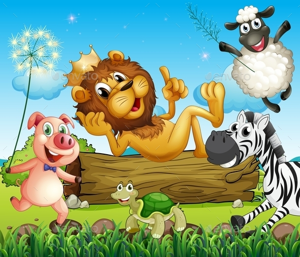 GraphicRiver King Lion surrounded by Animals 9259152