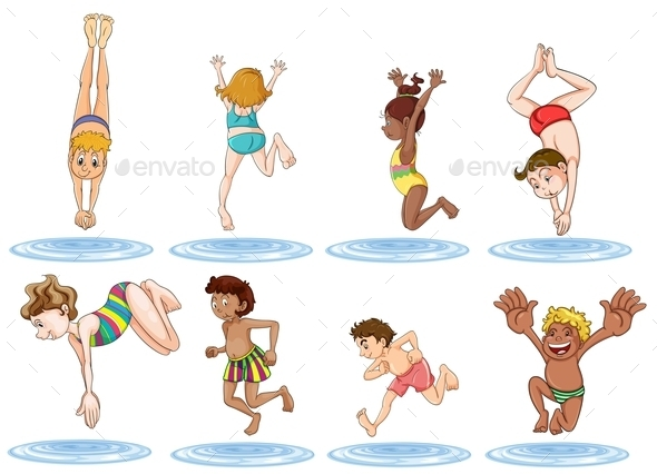 GraphicRiver Different kids Enjoying the Water 9259167