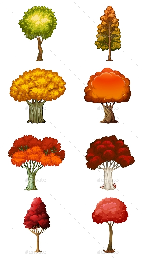 GraphicRiver Eight different Trees 9259213