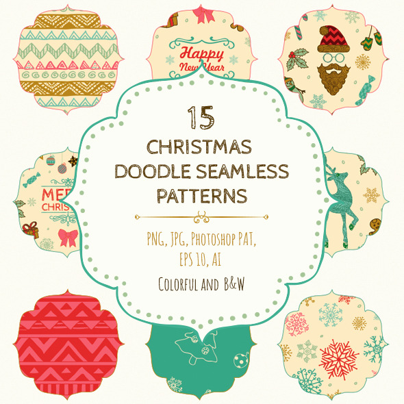 GraphicRiver 15 Christmas Seamless Patterns 9259214