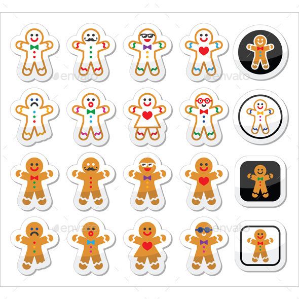 GraphicRiver Gingerbread Man Christmas Icons Set 9259399