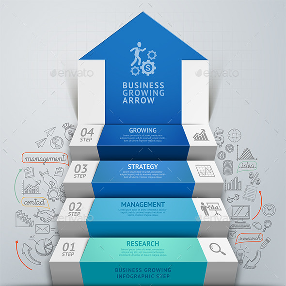 GraphicRiver Business Arrow Step Staircase Infographics 9259507