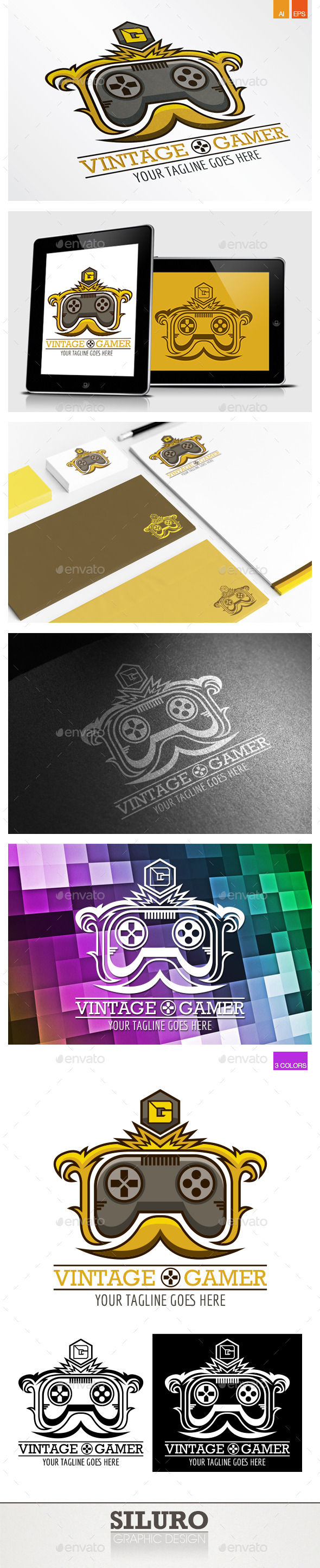 GraphicRiver Vintage Gamer Logo 9259555