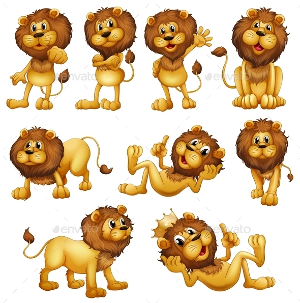 GraphicRiver Lions in different Positions 9259605