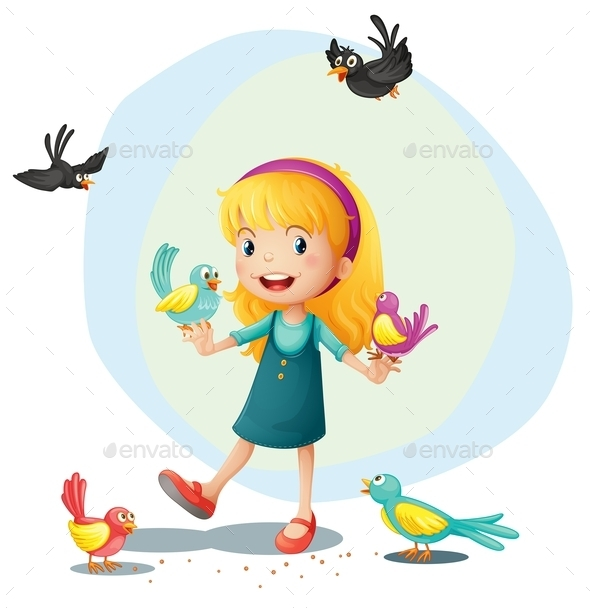 GraphicRiver A Girl Playing with the Birds 9259612